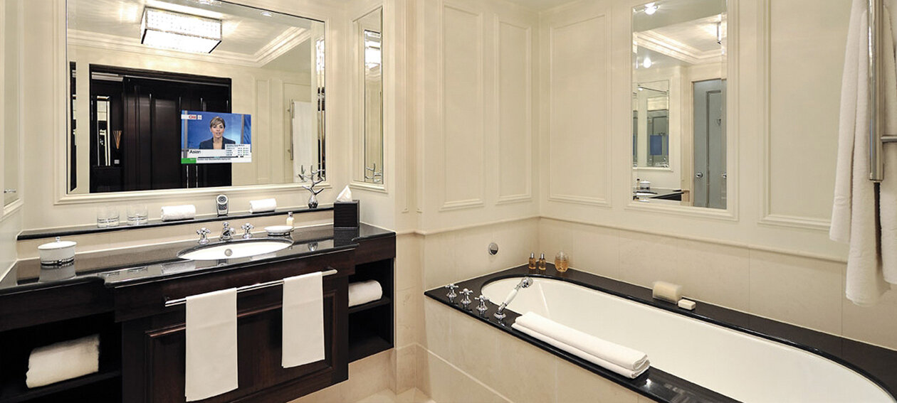 "18.5"" Mirror TV for hospitality application, installed in a bathroom environment @ Ritz Carlton in Ireland."